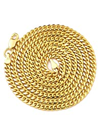 "10K Yellow Gold 2.5mm Solid Miami Cuban Link Chain Necklace with Lobster Lock 18"" 20"" 22"" 24"" 26"" 28"" 30"""