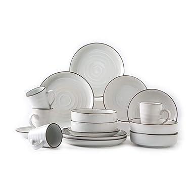 Pangu 16-Piece Porcelain Dinnerware Set, WESTERN, White, Service for 4 (16 piece)