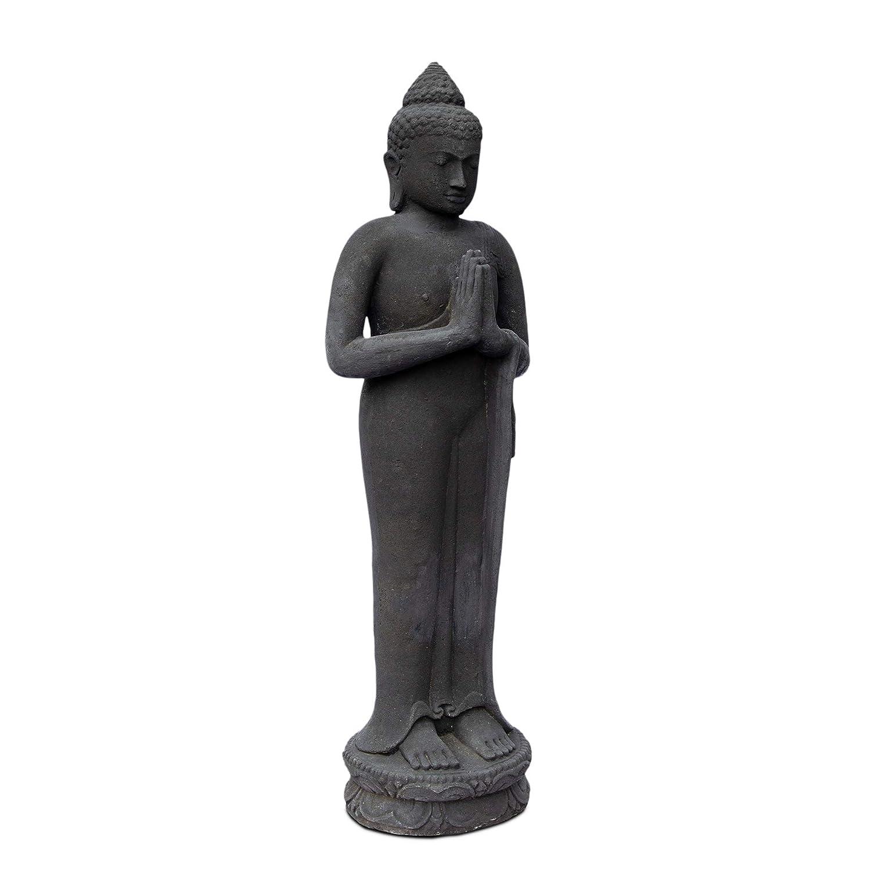 FaHome Buddha Figur Stein Garten stehend Lavasand 120 cm Gro/ß Skulptur Wetterfest Statue Frostfest massiv Guss Schwarz