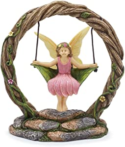 Marshall Home and Garden Fairy Queen Swing Natural Brown 5 x 5 Resin Stone Collectible Figurine