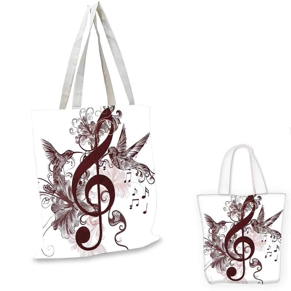 12x15-10 Music canvas messenger bag Cute Floral Design with Treble Clef and Singing Flying Birds Sparrows Art canvas beach bag Chesnut Brown White
