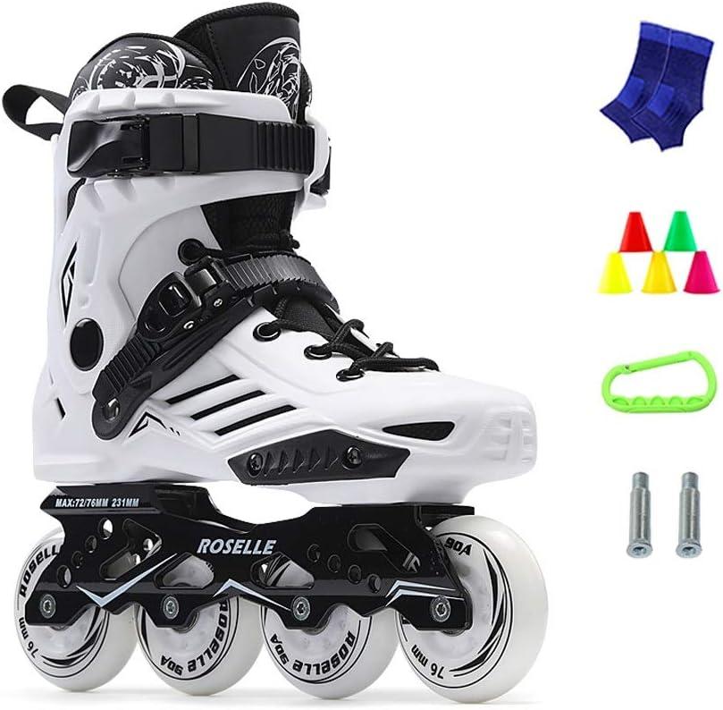 JIANXIN インラインスケート、初心者用ホイールローラースケートライトアップ、女性、男性、ユーススケート、ホワイトブラック B