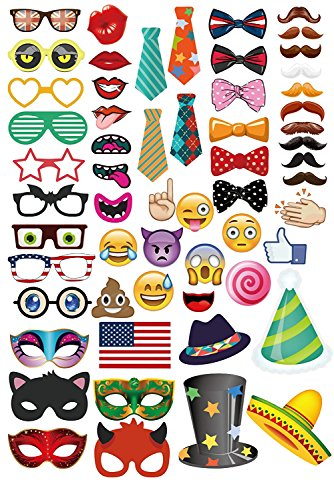 MOT Global Photo Booth Props - 58 Pieces Party Photo Props Kits with Emoji for Wedding Birthdays Reunions