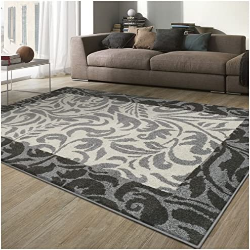 Superior Verdure Collection Area Rug, 6mm Pile Height with Jute Backing, Affordable Contemporary Rugs, Traditional Design with Vine Pattern – 2 7 x 8 Runner, Black, Grey, and Ivory