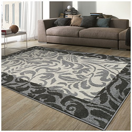 Superior Verdure Collection Area Rug, 6mm Pile Height with Jute Backing, Affordable Contemporary Rugs, Traditional Design with Vine Pattern – 5 x 8 Rug, Black, Grey, and Ivory
