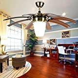 Andersonlight Invisible Ceiling Fans with LED Light Source 8 Brown Adjustable Blades Remote Control Lower Profile Downrod Mute Modern Indoor Bedroom Living Room Fan Chandelier New Bronze 42-Inch FS102