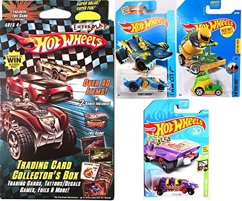 Hot Wheels Game Park Boom Car Stunt Cannon Theme + Roller Coaster Loopster /Knight Draggin Beast car & Trading Card Collectors Box Decals / Tattoos / Foils Fun Bundle 4 Items