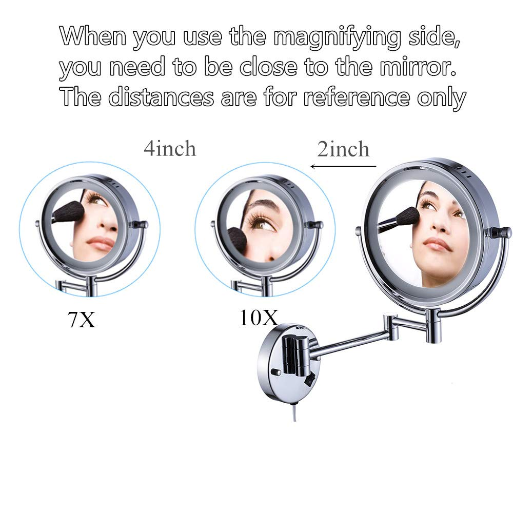 Cavoli Wall Mounted Makeup Mirror with LED Lighted 10x Magnification,8.5 Inches,Bathroom and Hotel, Chrome Finish,Made of Brass by Cavoli (Image #7)