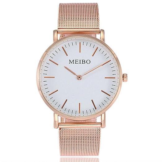 Relojes de Mujer Dorado 2018 Reloj de Correa de Acero Inoxidable de Cuarzo Casual Muñeca Analógica por ESAILQ: Amazon.es: Relojes