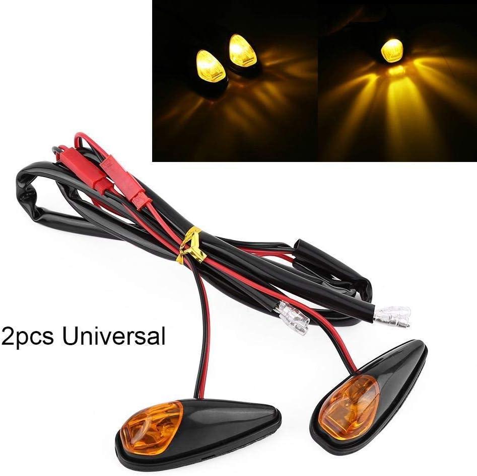 Broco 2pcs LED moto Encastr/é Turn Signal Lumi/ère Moto Indicateur Lampe Ambre