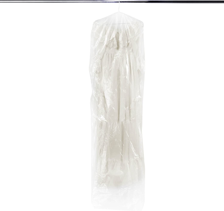 Tukistore 20 Pcs Disposable Garment Bag Plastic Transparent Hang Clothes Suit Garment Dustproof Storage Bag Clothes Covers Bags Dry Cleaner Clothes Covers