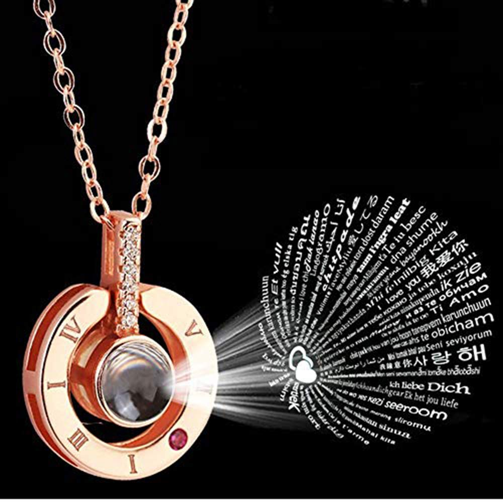 One Hundred Different I Love You Pendant Necklace DHQH Rose Gold Love Pendant Necklace