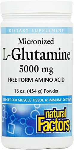 Natural Factors, Micronized L-Glutamine Drink Mix 5000 mg, Supports Healthy Muscle Tissue and Immune System Function, 16 oz 90 Servings