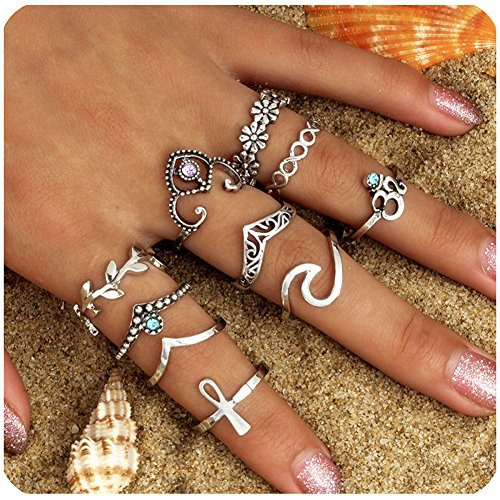 Gudukt Statement Knuckle Ring Set Vintage Crown Chevron Egyptian Ankh Yoga Wave Sun Joint Knuckle Rings