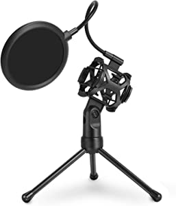 Black Desktop Microphone Tripod Stand with Shock Mount Microphone Holder & Pop Filter Mask Shield, Adjustable Portable for Studio Vocal Recording Podcasts, Music Recording, Online Chat, Lectures
