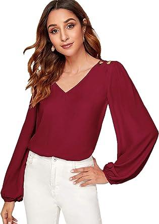 DIDK Femme Top Blouse Tunique Haut Boutonnées Aux Epaules en Col V Manches Longues Chemisier T Shirt Casual Elégante