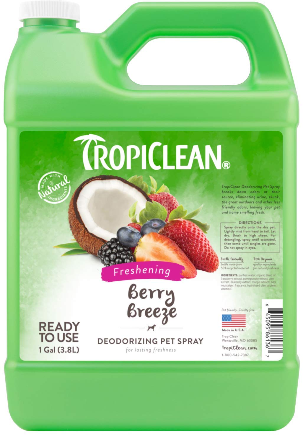 TropiClean Berry Breeze Deodorizing Spray for Pets, 1 gal, Made in USA