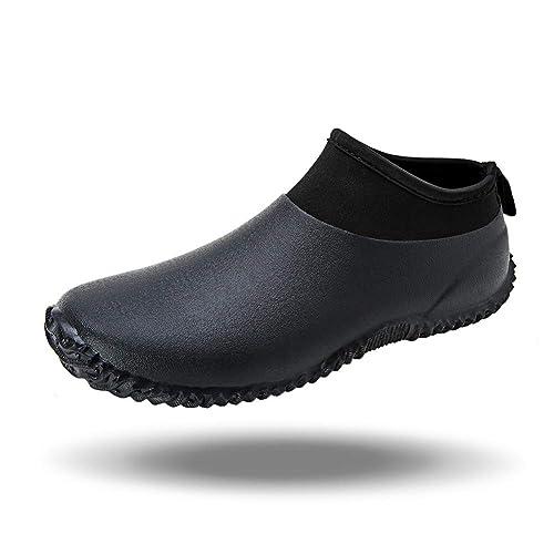 Buy babaka Men's Rain Boots Ankle Garden Rain Shoes Women Fishing Carwash  Neoprene Footwear Black 10.5 Men/12 Women at Amazon.in