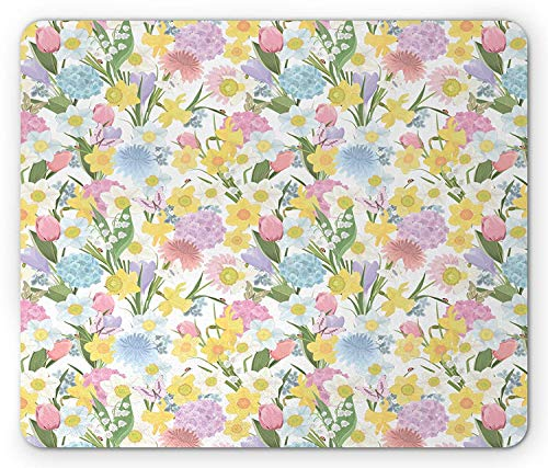 Spring Mouse Pad, Valley Flowers Medley of Lilly Hydrangea Pin Cushion Protea Gardenia and Tulips, Standard Size Rectangle Non-Slip Rubber Mousepad, Multicolor