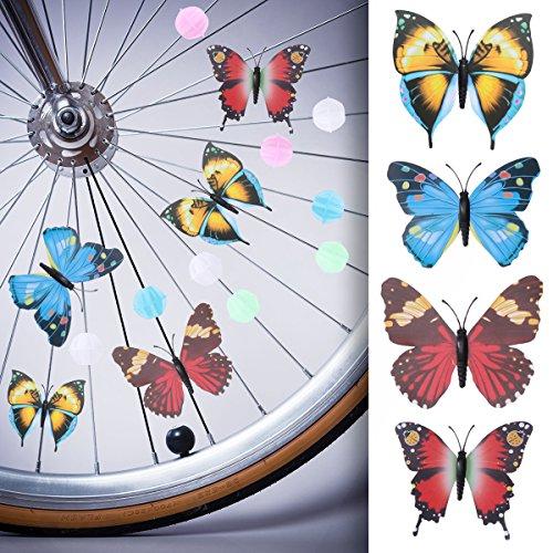 WINOMO Set of Bicycle Decor Bike Bicycle 108pcs Wheel Spoke Beads Luminous Plastic Round Spoke Bead 30pcs Butterflies Clips 6pcs Dragonflies Clips by WINOMO (Image #2)