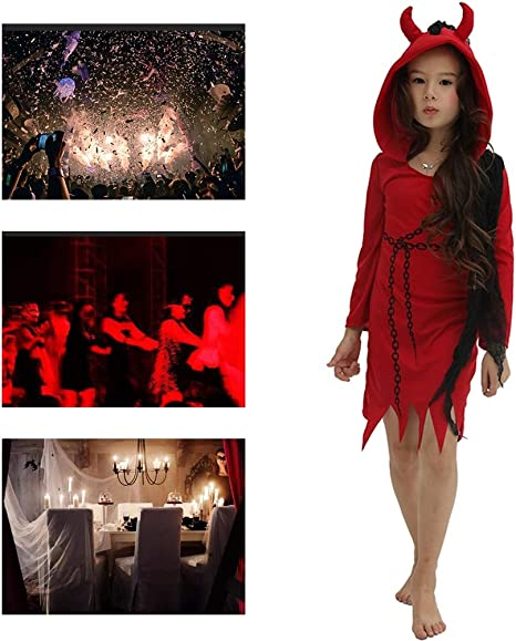 Disfraz De Halloween Niño Niña Cadena Diablo Falda Roja Set ...