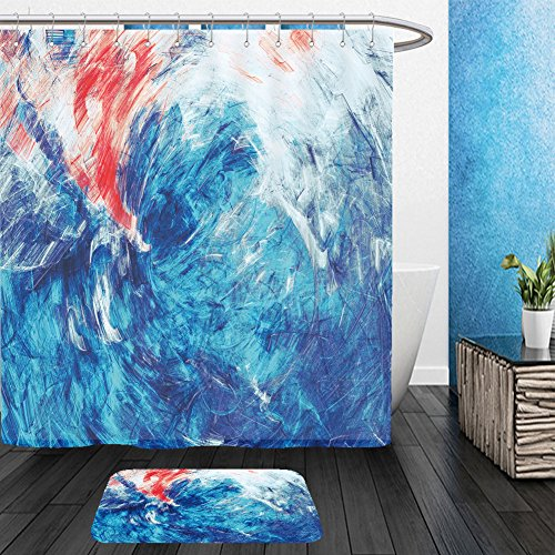 Vanfan Bathroom 2Suits 1 Shower Curtains & 1 Floor Mats blue sea wave artistic splashes of bright paints abstract color background for wallpaper 606528314 From Bath room