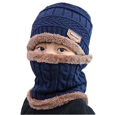 934423712 DOTBUY Invierno Niños Sombrero Caliente de Punto y Bufanda Tubular con  Forro de Lana