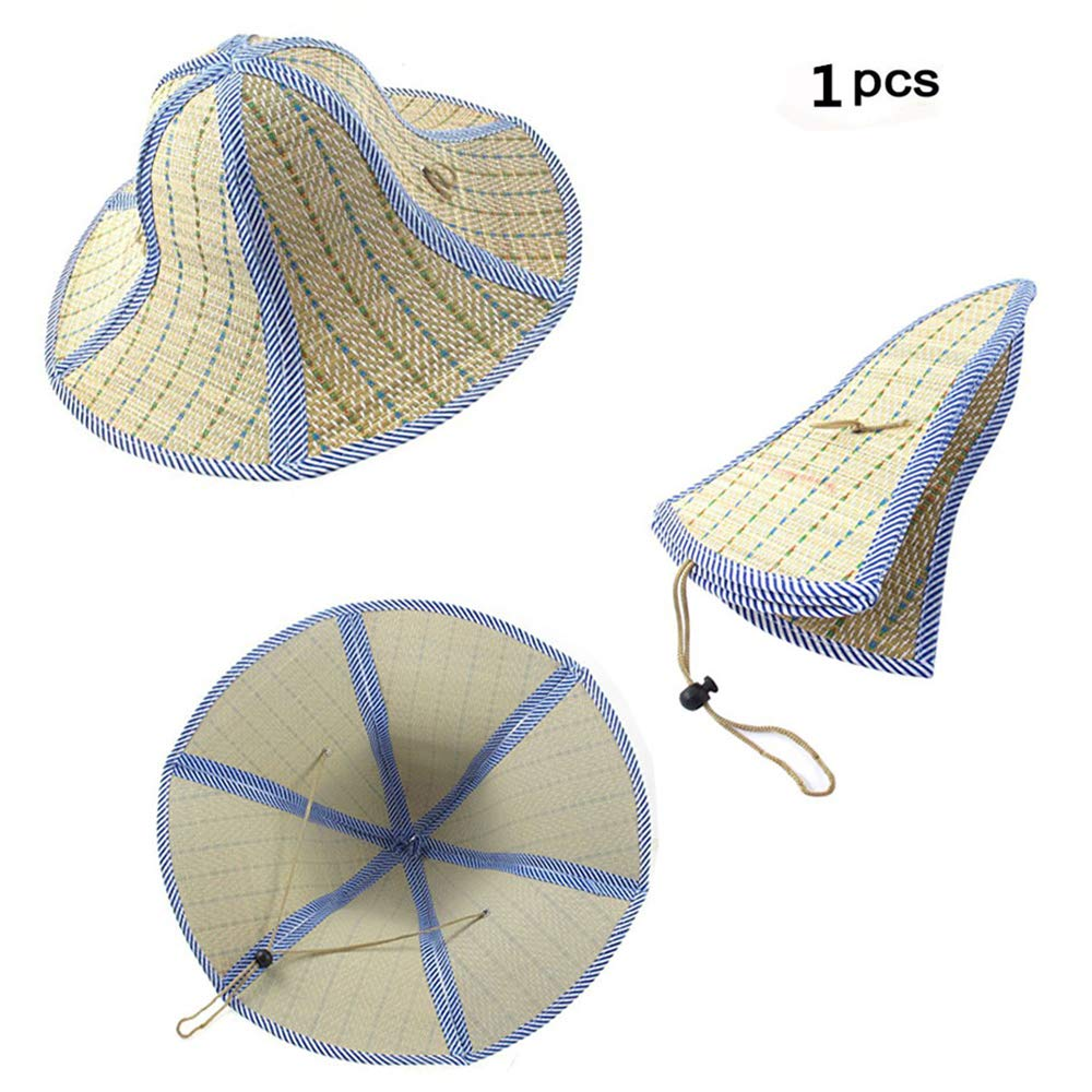 3014d5c9c05 Feisuo 1 Pcs Summer Beach Boater Straw Hat,Chinese Style Foldable Straw Sun  Cap Visor Hat for Mens and Women
