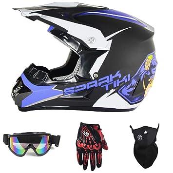 MERRYHE Adultos Motocicleta Cascos Integrales Cascos Cascos Guantes Gafas Máscaras 4 Piezas Set Off Road Quad