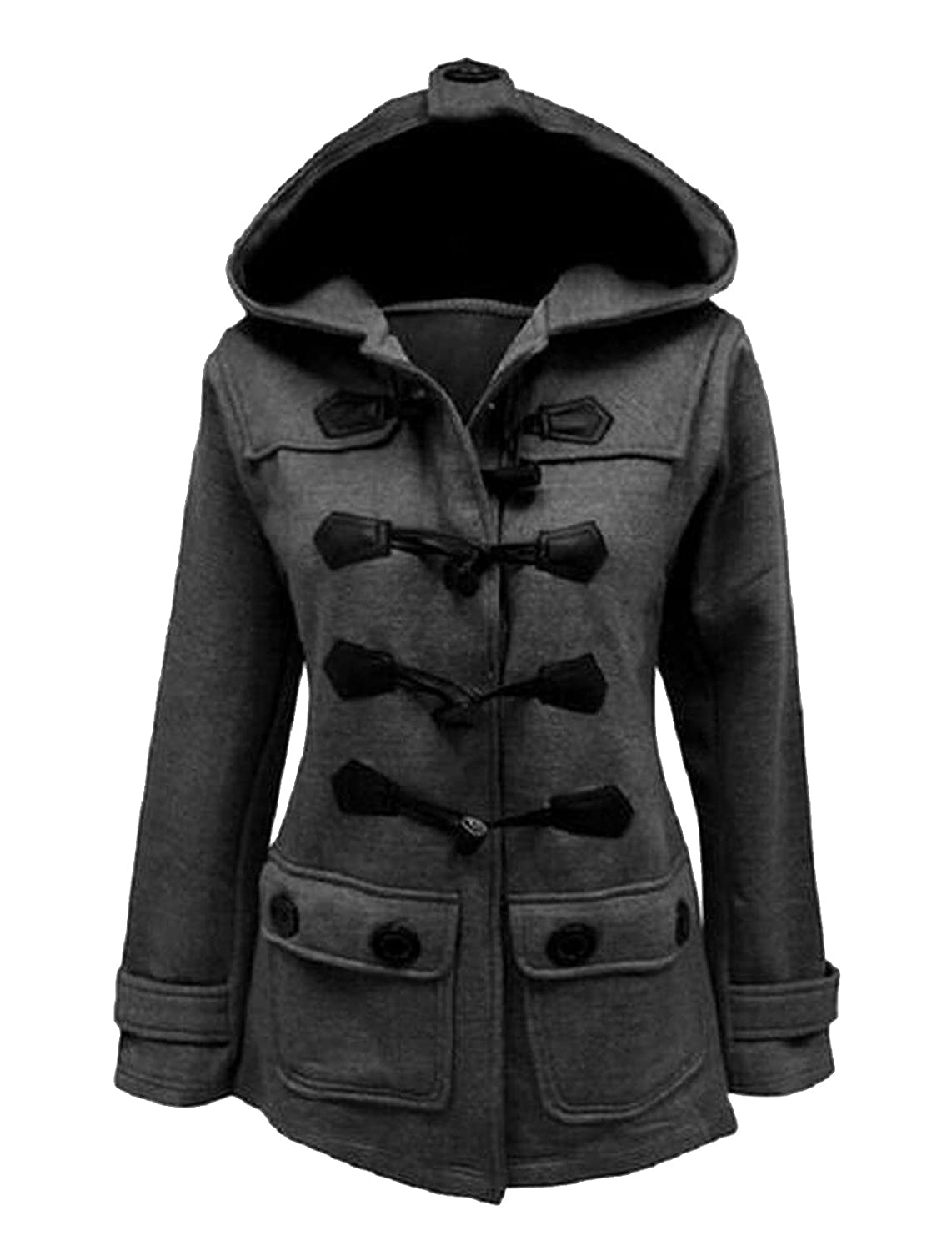 Ovetour Women's Plus Size Jacket Duffle Style Toggle Hoodie Pea Coat Top