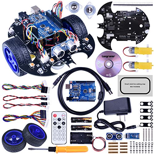Longruner Robot Car Robot Kit for Arduino with R3 Line Tracking Module Ultrasonic Sensor DIY Starter Kit Robotics Educational Car Kits Toys for Kids with Tutorial LQS10