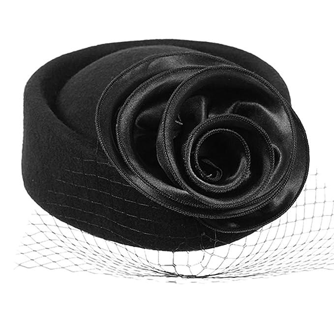 1950s Style Hats for Sale Aniwon Women Bowler Hat Veil Pillbox Hat Flower Cap Cocktail Party Wedding Fascinator $18.95 AT vintagedancer.com