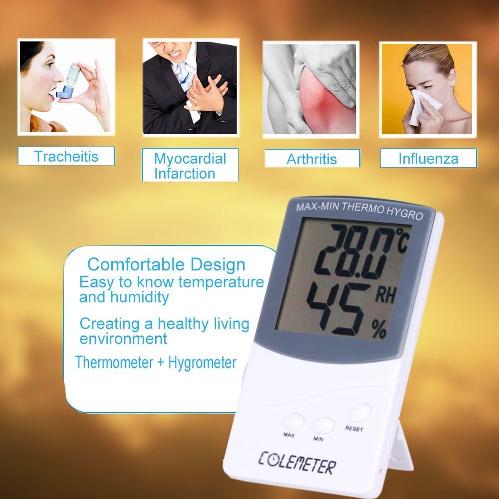 COLEMETER 2 en 1 Termómetro Higrometro LCD Pantalla Medidor Temperatura Termohigrómetro digital Medidor Temperatura y Humedad: Amazon.es: Hogar