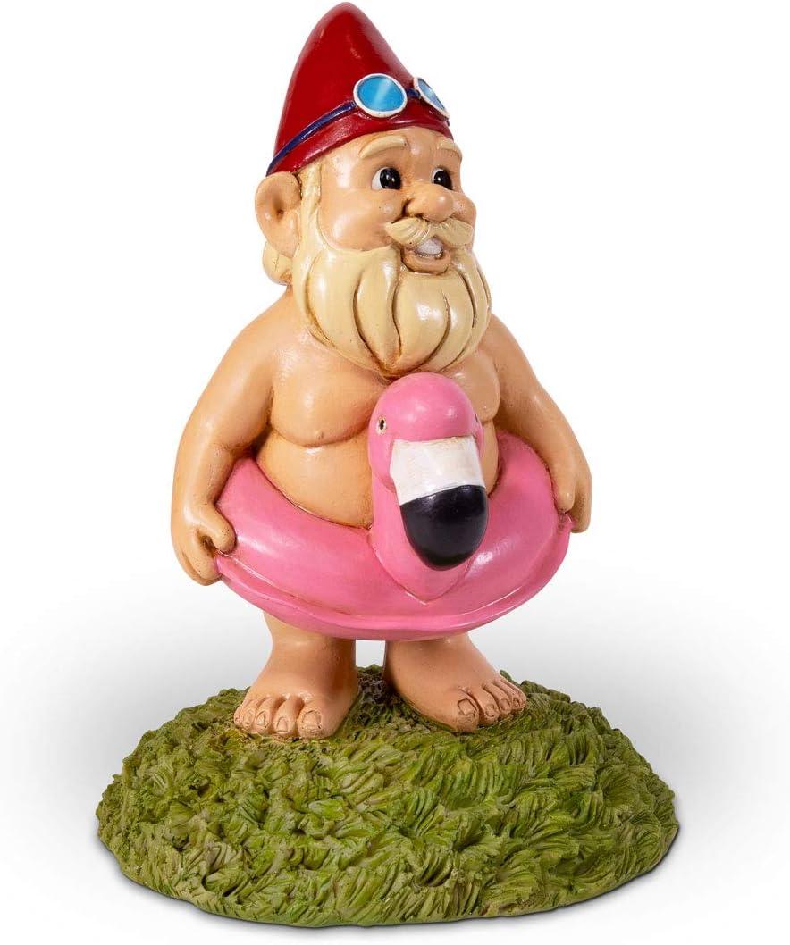 Kwirkworks Funny Garden Gnome - Flamingo Pool Float Lawn Statue Figurine - Fun Gift