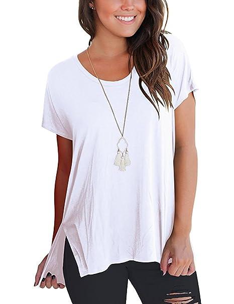 Dromild Mujeres de manga corta cuello redondo alto bajo dobladillo blusa Tops con bolsillos blanco S