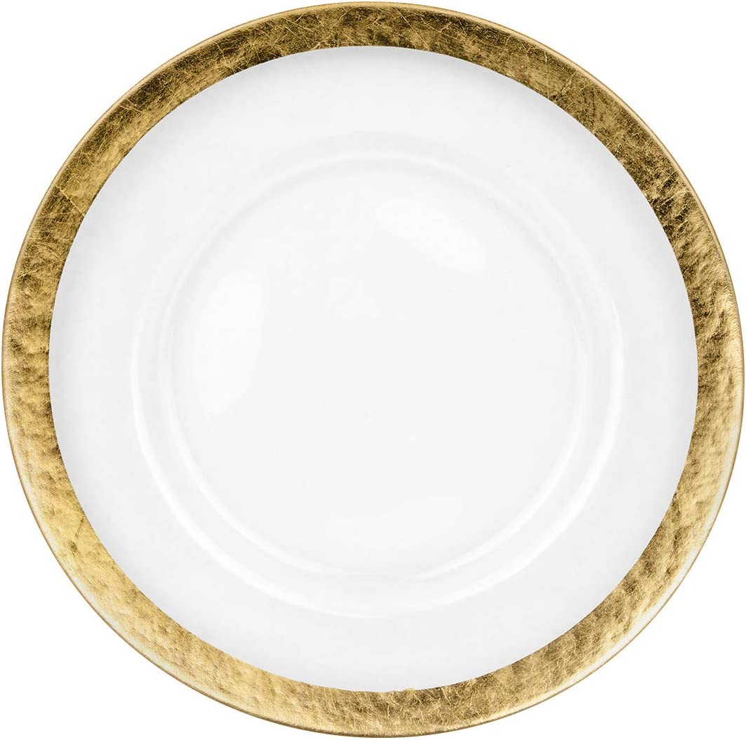 """Koyal Wholesale Round 13"""" Gold Foil Leaf Rim Glass Charger Plates, Modern Glam Look, Bulk Set of 4, Table Setting, Tabletop, Tablescape for Wedding, Holidays, Events, Dining Room Decorative Use"""