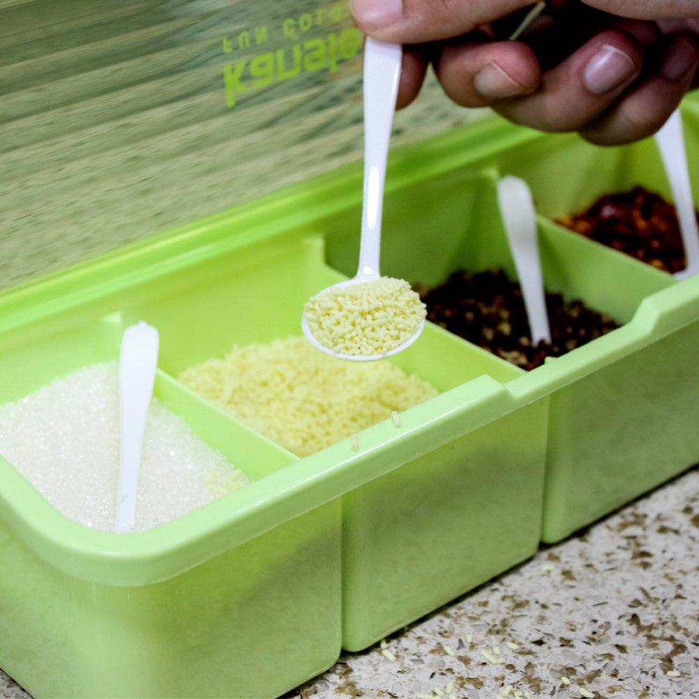 MYITIAN Suministros de cocina caja de especias de plástico transparentela especiacaja de almacenamiento de sal-condimentos Spice jar especia-A