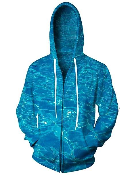 Bsrale Pullover Casual Azul Ola De Agua del Mar Hombres Sudaderas Capucha Sudaderas 3D Imprimir Cremallera Hombres Mujeres Sudaderas Cap Tops Hombres ...