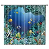 bedroom curtain ideas LB Living Room Bedroom Decor Window Treatment Curtains Drapes by, Printed Ocean Theme Picture Home Decorations, Colourful Fish in Blue Underwater Sea World, 2 Panels Set,55W X 65L Inches