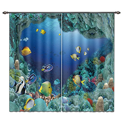 LB Living Room Bedroom Decor Window Treatment Curtains Drapes by, Printed Ocean Theme Picture Home Decorations, Colourful Fish in Blue Underwater Sea World, 2 Panels Set,55W X 65L Inches