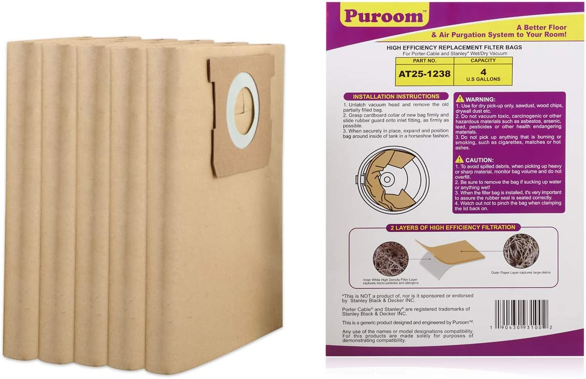 Part # 25-1238 Puroom 5 Pack Vacuum Filter Bags Compatible with Stanley /& Porter-Cable /& Vacmaster 4 Gallon Wet Dry Vacuum VFDB