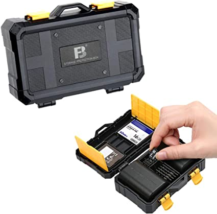 Camera Battery and SD Card Case Holder,6 SD Card+2 Camera Battery Slots Case Storage for Canon LP-E6 Nikon EN-EL15 Sony NP-FW50 Olympus BLS-5,Water-resistant /& Shockproof