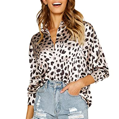 Clearance ❤ Women Blouse JJLIKER Fashion Sexy Leopard Print Pocket Button  Up Leisure Long Sleeve Shirt Tunic Top at Amazon Women s Clothing store  b39e6672c