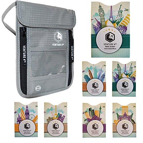 Venture4th Passport Holder Neck Pouch With RFID Blocking – Travel Passport Wallet (Silver + RFID Sleeves)