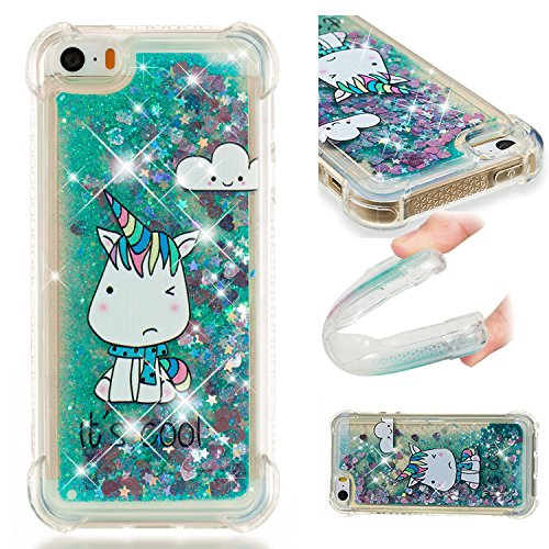 iPhone SE/5S/5 Case, UZER Shockproof Series Cartoon Cute Bling Quicksand Liquid Moving Flowing Twinkle Glitter Shining Sparkle Diamond TPU Bumper Protective Case for iPhone SE/5S/5