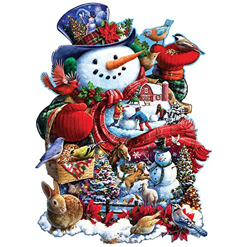 Bits and Pieces - 750 Piece Shaped Jigsaw Puzzle for Adults - Happy Holiday Snowman - 750 pc Christmas Jigsaw by Artist Larry Jones
