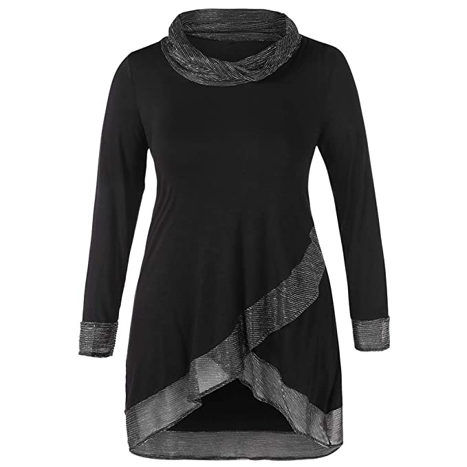 AOJIAN Blouse Women Long Sleeve T Shirt Cowl Neck Irregular Tunic Tees Tank Shirts Tops at Amazon Womens Clothing store: