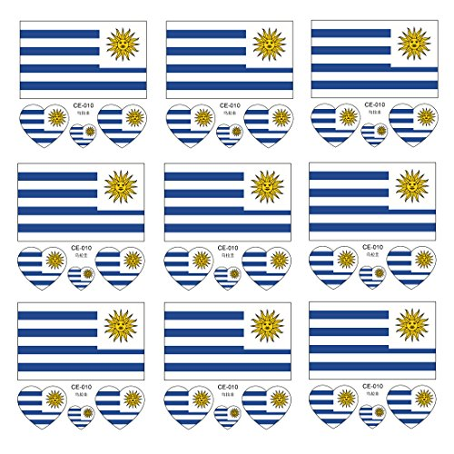 Queentas 2018 FIFA World Cup Uruguay National Flags Tattoo F