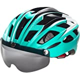 Victgoal Cycle Bike Helmet with Detachable Magnetic Goggles Visor Shield for Women Men, Cycling Mountain & Road Bicycle Helmets Adjustable Adult Safety Protection and Breathable