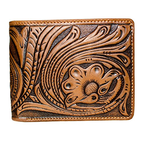 Montana West Men's Tooled Leather Bi-Fold Short Wallet, (Tan Tooled)
